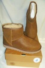 NEW! UGG Classic Ankle Mini Leather Boots w/ STUDS 1004235 Chestnut Brown Sz 10
