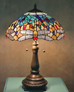 """Tiffany Style Stained Glass Yellow Dragonfly Table Lamp 16"""" Shade New"""