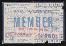 1960 North Melbourne Past Players Membership season Ticket Kangaroos