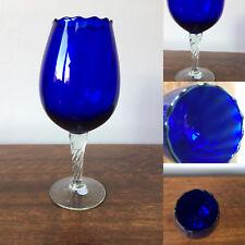 Vintage Bristol blue decorative goblet with twisted stem