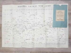 D. H. BERNARD'S NAUTICAL STAR CHART 1950s VINTAGE Constellations Ship Navigation