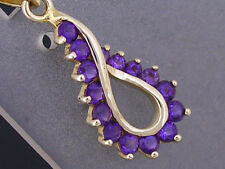 P046- Lovely 9ct SOLID Yellow Gold NATURAL Amethyst Swirl Tear Drop  Pendant