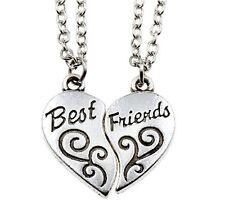 """2PCS Friendship Necklace Heart Letter """"BEST FRIEND"""" Silver Pendant Chain BY145"""