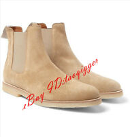 Men Retro Suede Ankle Boots Pointy Toe Chukka Chelsea Boots Pull On Shoes Size#