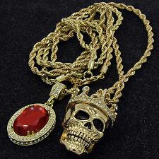 "Mens Gold Crowned Skull Red Ruby Bundle Set Pendant Hip Hop 24"" Rope Chain D576"