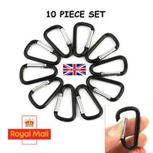 10 pcs Carabiner Small Spring Clip Snap Clasp Hook Black Carabina Karabiner UK N