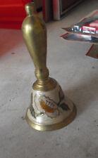 "Vintage Enameled Brass Floral Ringing Bell 5 1/4"" Tall"