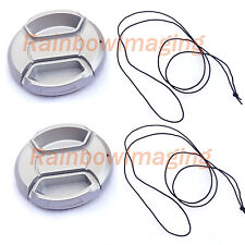 46mm Silver Snap On Lens Cap for Leica Zeiss Panasonic Pentax  x 2 Pcs
