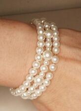 Three Simulated White Pearl Stretch Bracelets 4-8mm