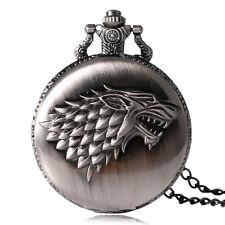 Game of Thrones Xmas Gift Cool Wolf Quartz Retro Pocket Watch Necklace Pendant