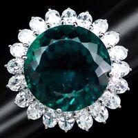 ALLURING PARAIBA BLUE GREEN APATITE MAIN STONE 30.10CT.SAPP 925 SILVER RING SZ 6