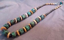 Santo Domingo Ajax Green Turquoise & Spiny Oyster Necklace w/ silver clasp JN036