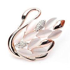 Elegante Swan Muster Strass Brosche Pins Kristall Broschen Pins Clip *D