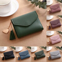 Women Tassel Short Wallet PU Leather Zip Coin Purse Card Holder Gift Small Solid