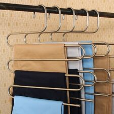 S Type Clothes Pants Trouser Hanger 5 Layer Storage Rack Closet Space Saver New