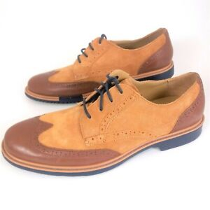 Cole Haan Men 10.5 Grand. OS Wingtip Oxford Casual Dress Shoes Brown Tan EUC