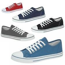 Mens lona Zapatos Plimsole entrenador Bombas Zapatos Planos Con Cordones