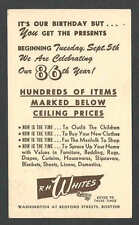DATED 1944 PC BOSTON MA R H WHITES DEPT&CLOTHING STORE CELEBRATES 86TH YEAR SALE