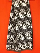 NWT FENDI GRAY MULTICOLOR ZUCCA FF LOGO WOOL BLEND CASHMERE NECK KNIT SCARF
