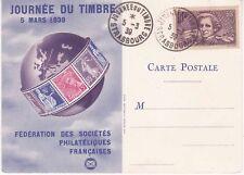 Carte Postale 1939 1er jour Journée du timbre Fédération des Stés Philatéliques