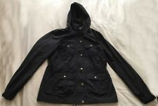 H&M Divided Black Lined Windbreaker with Hood SIZE 8