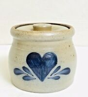 "Rowe Pottery Works Heart Salt Glazed Small Crock & lid 4"" tall Gray & Blue"
