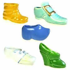 Lot of 5 Hand Painted Ceramic Miniature Shoe Boot