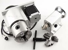 CNC Router Rotational Rotary Axis, A-axis, 4th-axis,3-Jaw 80mm and Tail stock