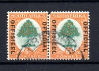 South Africa 1930-47 6d Official pair SGO16 WMK upright Cat Val £110 WS19581