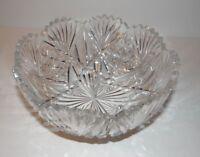 American Brilliant Period Cut Glass Round Bowl Sawtooth Edge Fan Design