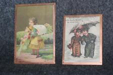 """2 COPPER FRAMED VICTORIAN MINIATURE PICTURES 4.75"""" X 3.25"""" & 3 1/8"""" X 3"""""""