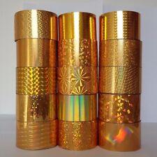 15 X Gold Nail Art Wrap Foil Transfer Glitter Sticker Decoration Rhinestone