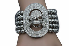 Women Elastic Band Bracelet Fashion Jewelry Silver Metal Skeleton Skull Pirate