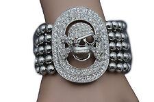 Women Elastic Band Bracelet Fashion Jewelry Silver Metal Skeleton Skull Pirate