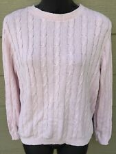 CHEROKEE Women's Pullover Cable Knit Sweater Top Small S Pink Long Sleeve Cotton