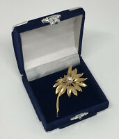 Vintage Sphinx Brooch A2454 Gold Tone Flower With Faux Pearl Pretty Costume Gift