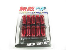 Muteki SR48 Extended Open Ended Wheel Tuner Lug Nuts Chrome Red 12x1.5mm NEW