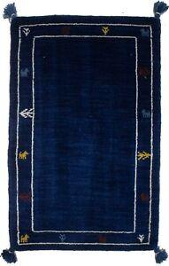 Modern Tassel Oriental Rug Navy Lori Gabbeh 2X3 Tribal Design Hand-Loomed Carpet