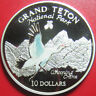1997 COOK ISLANDS $10 SILVER PROOF COLORED WHOOPING CRANE GRAND TETON PARK RARE!