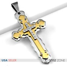 HOT Fashion Jewelry Unisex Gold Tone Stainless Steel Cross Pendant Cool Punk 6A