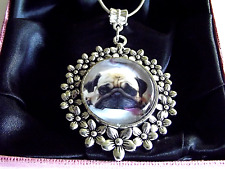 PUG DOG PUPPY PHOTO FLOWER PENDANT 24 INCH SILVER PLATED CHAIN GIFT BOX BIRTHDAY