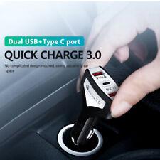 QC 3.0 Rápido Cargador De Coche Adaptador Dual USB y puerto de tipo C para iPhone iPad Samsung