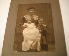Antique Photo ca. 1900 - Mother with Baby and Boy in Sailor Suit - Cute! (OL39)