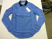 046 WOMENS NWT WRANGLER BLUE WITH BLACK CORDUROY COLLAR L/S SHIRT 10 $90 RRP.