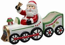 """Santa in Train Salt and Pepper Set with Sugar Pack Holder, 6-1/4"""" Christmas"""