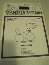 POODLE Pretty Punch Iron Transfer Pattern Embroidery 818 UNCUT Vintage