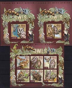 Sierra Leone -  Owls / Birds / Oiseaux hibou / Vögel / Eulen -Timbres - MNH** AY