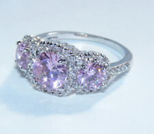 STUNNING 18K White Gold Plated Pink Clear Rhinestone Size 7.75 Cocktail Ring G5