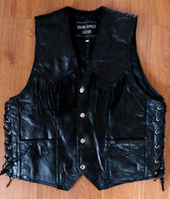 Buffalo Leather Vest Motorcycle Biker Lace Up Patchwork Italian Stone Lined L