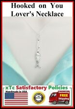 """""""Hooked on You"""" Beautiful Lover Fish with Hook Silver Charm Necklace. Lover Gift"""